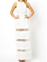 Evening Dress 2015 New White Graceful Mesh Stitching Floor-length Maxi Dress Women Summer Clothes B4733 Fshow