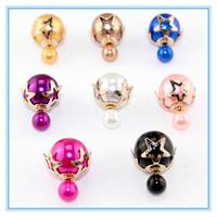 New Fashion Double Pearl Stud Earrings Round Multilayer BeadsMetal Star Double Side Wear Earring Jewelry