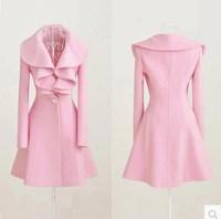 Fashion slim medium-long 2014 lotus leaf woolen outerwear thickening overcoat women's