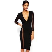 2015 NEW Summer Casual Dresses Black Sexy Deep V-Neck Dress