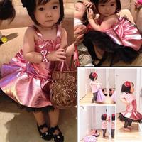 Girls Dress Lace Wave Flower Girl Dresses Pageant Wedding Kids Clothing Purple Dresses Freeshipping