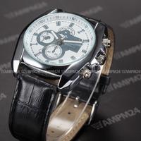Fashion Black Leather Band White Round Dial Relogio Masculino Male Analog Dress Clock Wrist Mens Quartz Casual Watch / PHN062