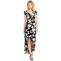 Women Short Sleeve Floral Print Wrapped Long Dress Fashion Ladies V-neck Black White Dresses with Sleeve Spring Summer XS - XXL