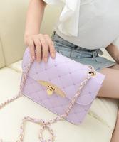 Fashion Sweet Lady rhombic Pattern Diamante Chain Single diagonal Shoulder Bag