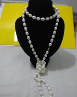 AAA+11-13mm natural Baroque white pearl necklace60inch14k