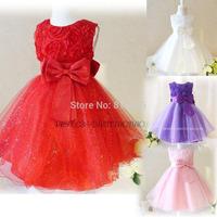 2015 Girls Dress  flower princess girl dress Layered Girl Clothes Princess Party Wear Children Clothes rose flower