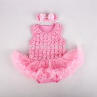 2015 Girls summer sets Baby 2 Piece Suits Sleeveless vest Romper Rose Bubble Tutu Dress  + Headband infant fashion clothing sets