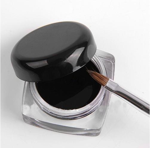 3Pcs/Lot Hot Sale Black Waterproof Eye Liner Eyeliner Gel Makeup Cosmetic + Brush Makeup Set(China (Mainland))