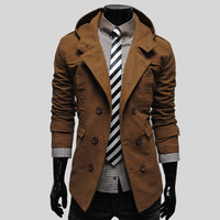 Hot Sale,fashion men hooded wind coats 2015 spring new arrival slim leisure mens jacket big yard  M-XXL(Z0203)