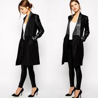 Plus Size 2015 New Arrival Women Woolen Coat Winter Overcoat Turn-down Collar Black PU Leather Patchwork Long Outerwear LJ639DB