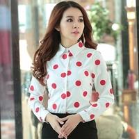 2015 Spring Long Sleeve Red Blue Polka Dots Printed Women Chiffon Shirts Blouses Plus Size XXL Cute Ladies Tops Shirt 1501170