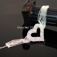 Classic Women Love Heart Jewelry Lady Bracelet Tassel Chain Bangle Fashion Casual Rhinestone Drill Bracelet chaine strass