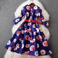 European High Quality Designer Dress Women's Noble 3/4 Sleeve Single Breasted Fancy Floral Print Knee Length Purple Dress