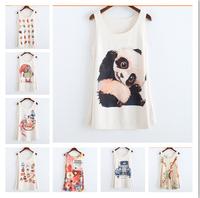 2015 new summer women's tshirts Fruit/animals printed t-shirt fashion tops sleeveless high quality tees 20 models free shipping