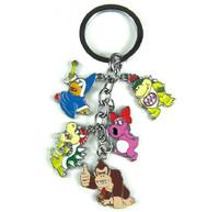 10pcs/lot Super Mario Donkey Kong Magikoopa Kamek Brido Bowser JR Bowser Figure Toys Metal Keychain Pendant