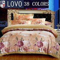 LOVO bedding set 4pcs 100% cotton king queen size Flowers owl bed duvet quilt cover bedsheet bedclothes linen
