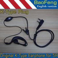 Baofeng walkie talkie Mic Headset K Type earphone for UV-5R UV 5R UV-5RE UV-B5 BF-888S 888S UV-B5 Free shipping