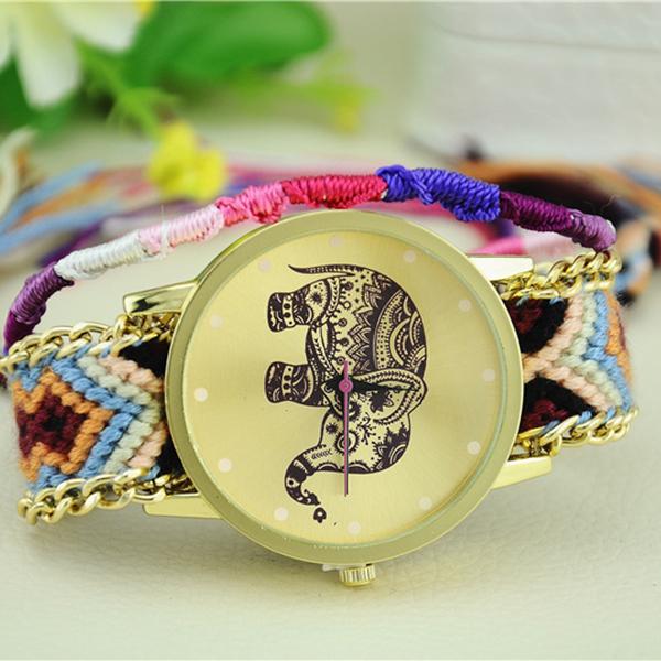 Слон дружба браслет часы 2015 новый женщины девушки ручной работы кос женева наручные часы бесплатная доставка