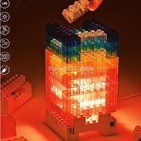 Creative Safety 5V LED Building Blocks Night Light DIY Toy Brick Constructible Desk Lamp Light DC/battery Power
