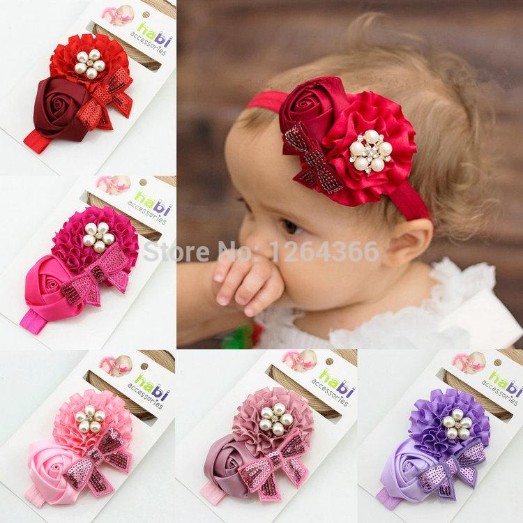 Newborn Girl Baby Kids Toddler Infant Rose Flower Floral Rhinestone Rose Pearl Sequin Headband Hair Band Headwear Accessories(China (Mainland))