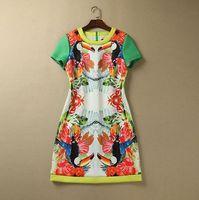 S-XXL 2015 new runway spring fashion Brand birds animal flower print Color Blocking plus size one piece dress 232160