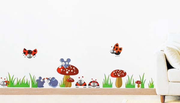 Wall Stickers Home Decor Stickers Ladybug Mushroom Mouse Wall Sticker Decal for Kids Children Baby Nursery Room Decor Xy8075(China (Mainland))