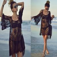 2015 Woman Sexy Lace Cotton Beach Dress Swimwear Cover Up Camisole Bikini biquines de praia Crochet Beachwear Blusas A1185