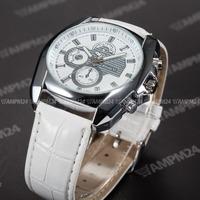 Brand New Male Analog Dress Clock Full White Dial Silver Case Leather Strap Band Relogio Men Quartz Casual Wristwatch / PHN063