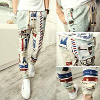 Top 2015 special Offer men pants harem pants long style floral print cotton linen strip elastic waist Pants trousers Men