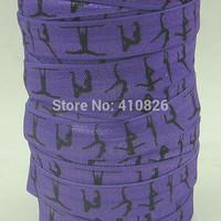 WM ribbon wholesale/OEM 5/8inch 150202007 gymnastic printed in purple folded over elastic FOE 50yds/roll free shipping