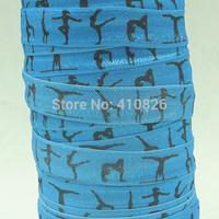 WM ribbon wholesale/OEM 5/8inch 150202008 gymnastic printed in blue folded over elastic FOE 50yds/roll free shipping