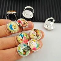 50Pcs/lot Photo Butterfly Dome Round Magnifying Glass Cabochons Rings Jewelry Finding