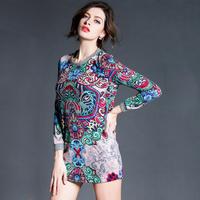 2015 women vintage flowers print elegant long-sleeve dress pullovers plus size xl woolen one-piece casual bodycon dress