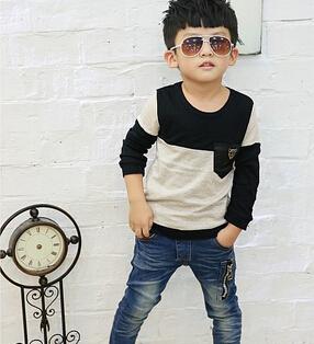 Korean Fashion Boys T Shirt Pure Cotton Pocket Best Quality Children Long Sleeve Tshirt Kids T-Shirts Baby Topwear()