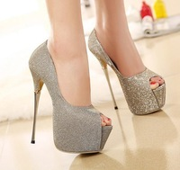 Large size 40 Size 2015 High heels Open Toe Women Pumps Platforms Wedding Gold High Heeled Party Shoes 144