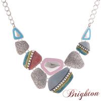 Fashion Accessorices Women Vintage Silver Plated Colorful Enameling Geometric Pendants Statement Chain Necklaces Ethnic Bijoux