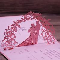 Baby Pink Luxurious Wedding Invitation Card Art Paper 3D Pop Up Elegant Wedding Ceremony Card 50pcs Free Shipping