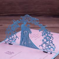 Baby Blue 3D Wedding Invitation Card Laser Cut Art Paper Handmade Craft Wedding Card 50pcs Free Shipping