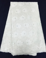 5yds/lot! white! 2015 newest african cotton lace material,super high quality korean lace fabric for making dress!! CCL020102