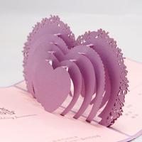 Lilac 3D Wedding Card Pop Up Laser Cut Wedding Invitation Card to Print Free 50pcs a Set Free Shipping