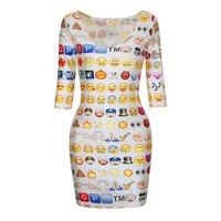 New Fashion Mermaid Weed Leaf Women Skated Emoji Clothing Casule Emoji Dress Round Collar Smiling Face Girls Dress Skater Dress