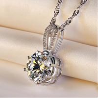 925 pure silver necklace female silver accessories fashion natural stone pendant necklaces & pendants  X372