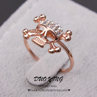 2015 Fashion Rings Cristallo Austriaco Punk 18k Rose Gold Filled Shining Crystal Skeleton Party Rings For Women Anillos Aneis