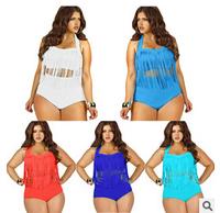 PLUS SIZE Big and Beautiful Womens Retro Fringe Tassel High Waisted Bikini Push Up Bandeau Rockabilly Swimwear Swimsuit  MW456