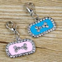 50PC New Zinc Alloy Bone Shape Pet Dog Cat Puppy Rhinestone ID Tags Pendent Charms Pink Blue