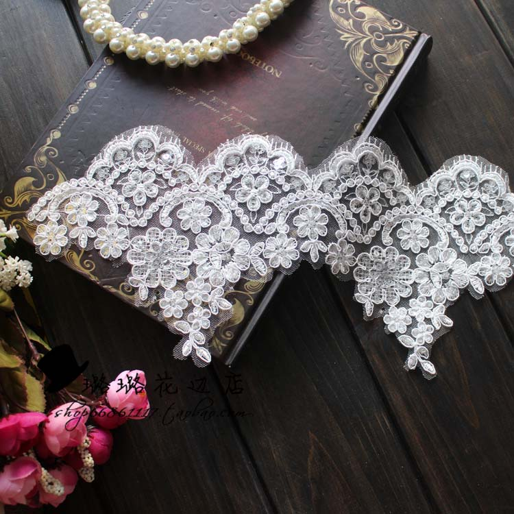 Paillette lace this eyelash white exquisite quality laciness wedding hair accessory embroidery diy laciness 15cm(China (Mainland))