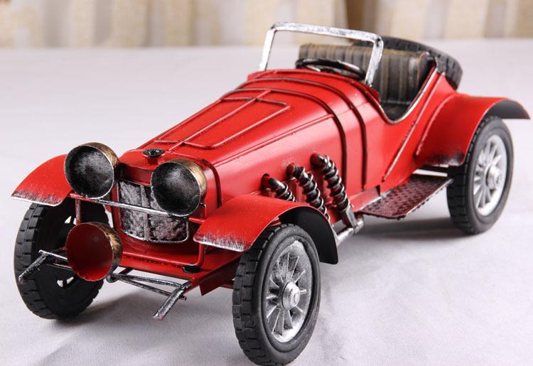 Retro vintage antique tin metal crafts red convertible vintage car vintage home accessories Decoration(China (Mainland))
