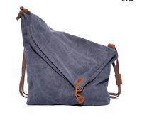2015 Fashion New Women Canvas messenger Bag Long Shoulder Strap Crossbody Bag Single Shoulder Bag Crazy Horse Leather Trim