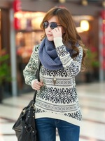 2015 Fashion Autumn&Winter Women Sweater Women Casual Knitted Pullover Vintage Totem Loose Pullovers Long Sleeve O Neck Sweaters