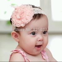 Newborn Toddler Baby boy slip lace flower is lovely headdress 3color free shipping elastic headband Headbands